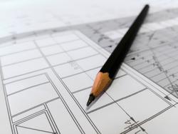 Bleistift mit Bauplan